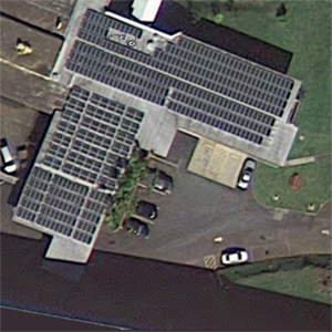 Rooftop solar arrays on the North Hawaii Education and Research Center