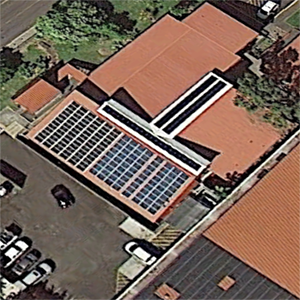 Rooftop solar array on the Student Housing building