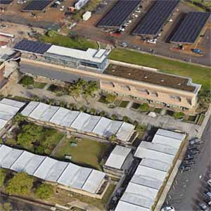 Rooftop solar array on the Innovation Center for Teaching and Learning