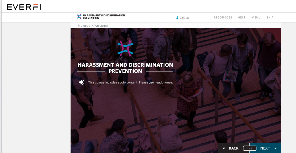 Employee Harassment and Discrimination Prevention Training - Welcome Page Image