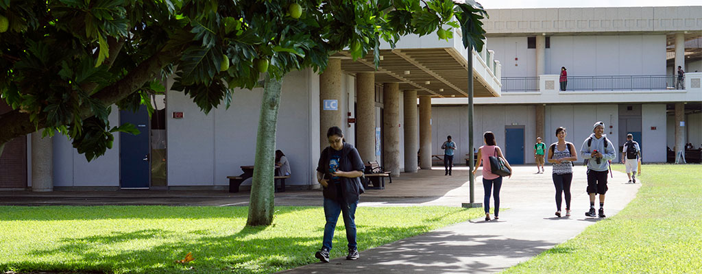 Buildings and students on Leeward Community College