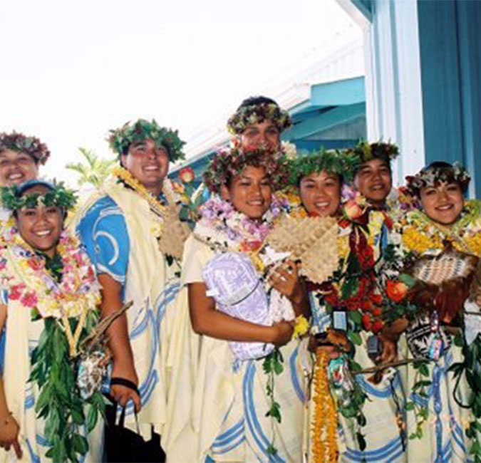 Group of students with leis