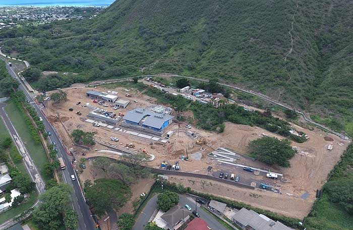 aerial photograph of the contruction of the Culinary Institute of the Pacific on the slopes of Diamond Head