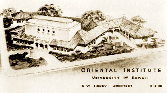 sepia colored illustration of the Oriental Institute of the University of Hawaii by C.W. Dickey, architect