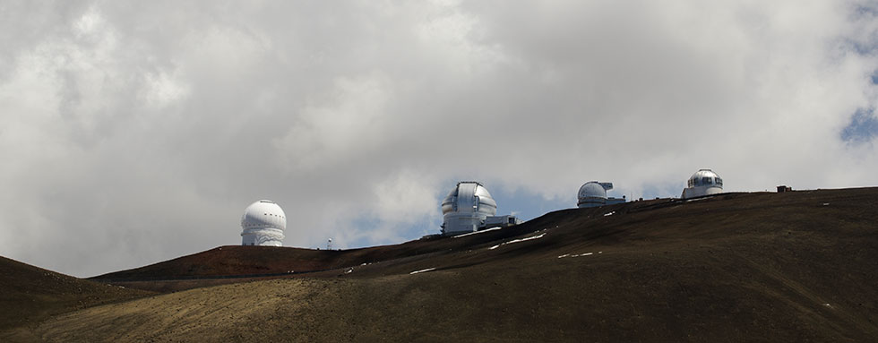 skyline view of Maunakea observatories