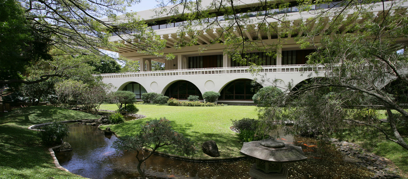 View of garden at East-west Center, international organization UH is affiliated with