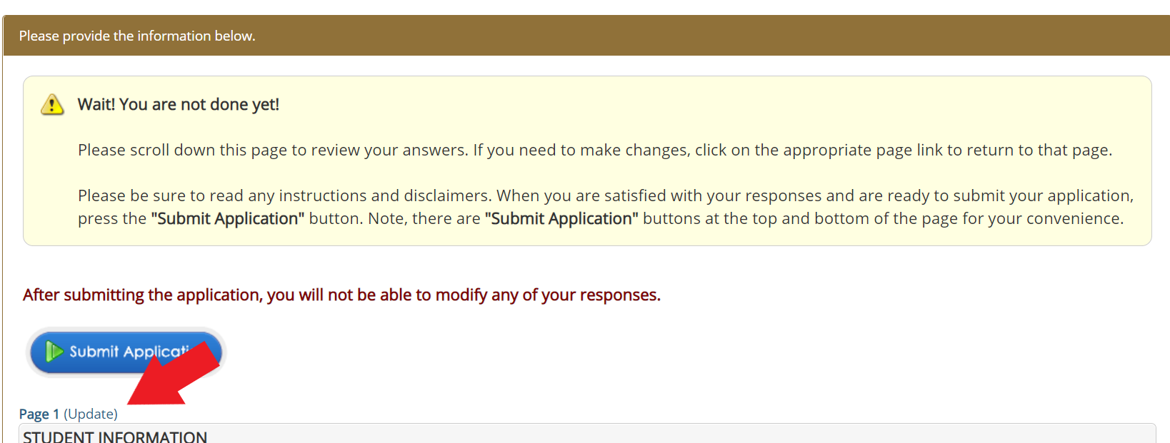 Screenshot of the Scholarship Manager Page 1 Update button