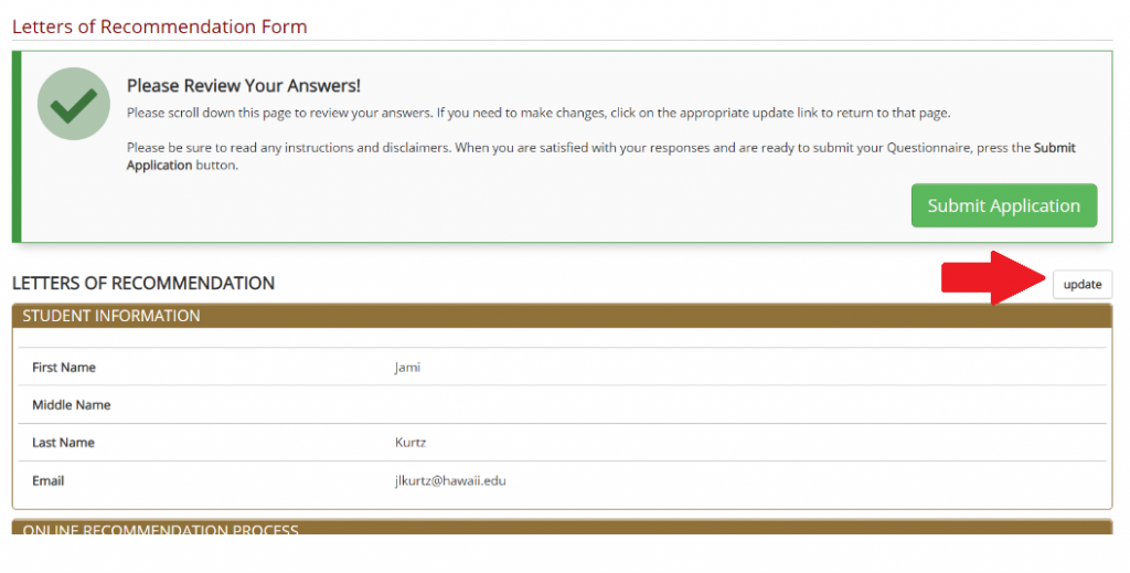 Screenshot of Letters of Recommendation Page
