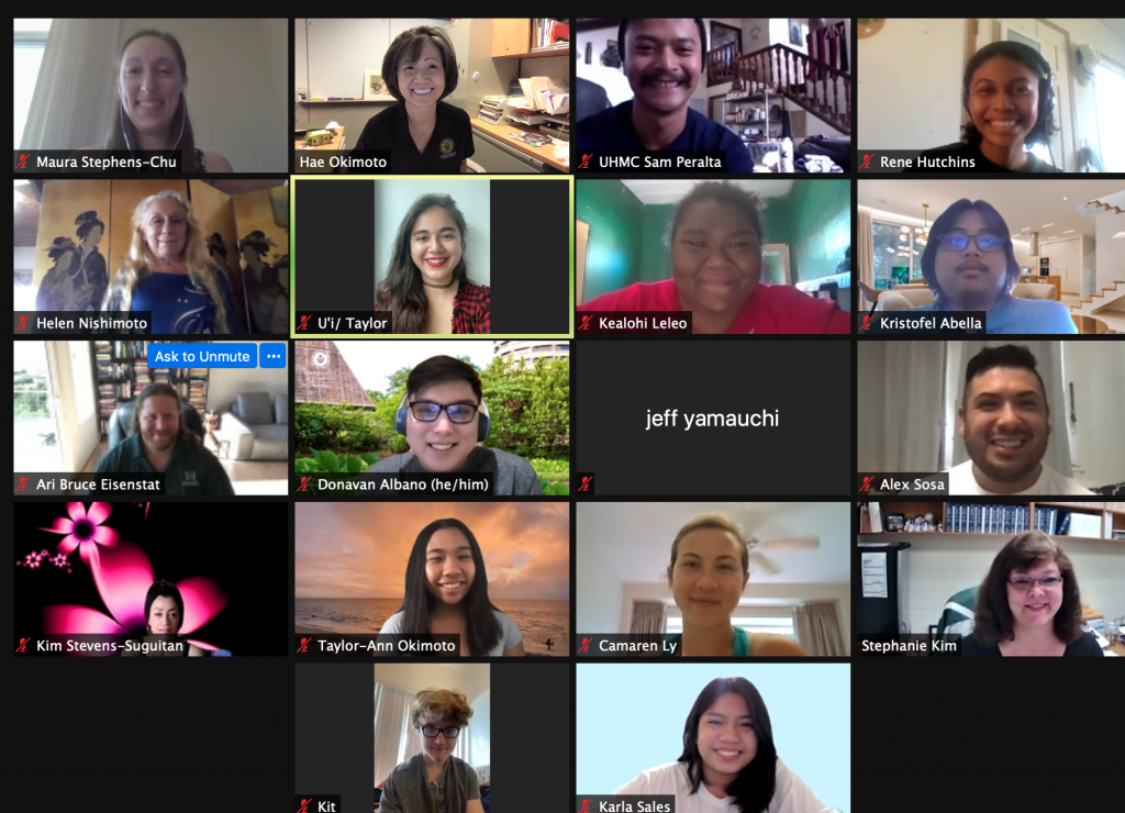 Screenshot of Student Caucus members during a Zoom meeting