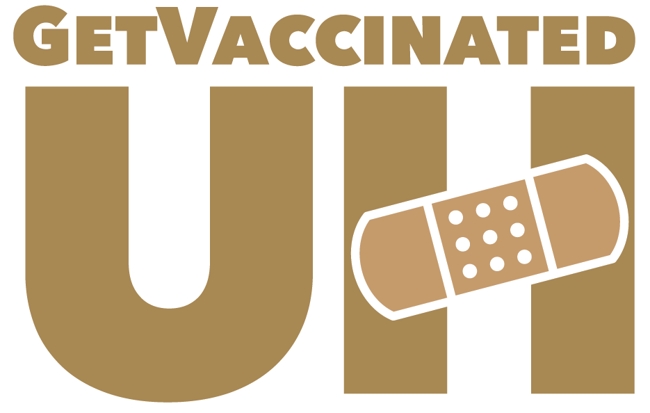 Get Vaccinated U H with a bandage over the H